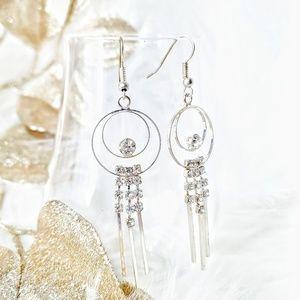 Earrings•Faux Diamond•Silver Loop Hoops•Sparkly